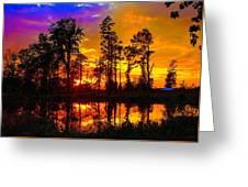 Orchard Lake Sunset Greeting Card