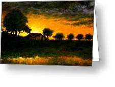 Orchard Sundown Greeting Card
