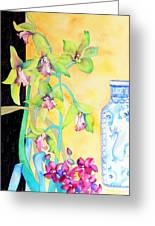 Orchids And Blue Vase Greeting Card