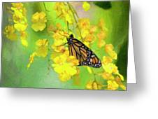 Orchids And Butterfly Painting Greeting Card