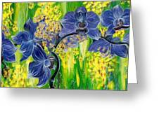 Orchids In A Gold Rain Greeting Card