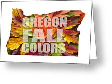 Oregon Maple Leaves Mixed Fall Colors Text Greeting Card