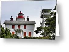 Oregon's Seacoast Lighthouses - Yaquina Bay Lighthouse - Old And New Greeting Card by Christine Till
