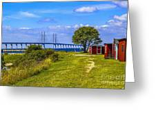 Oresund Bridge With Cabanas Greeting Card