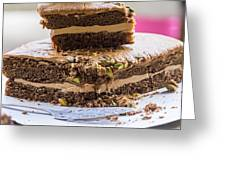 Organic Coffee And Pistachio Cake A Greeting Card