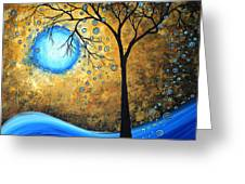 Orginal Abstract Landscape Painting Blue Fire By Madart Greeting Card