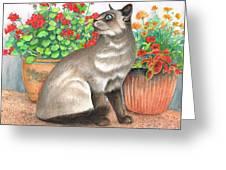Oriental Cat Greeting Card
