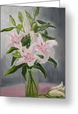 Oriental Lilies In White And Pink Greeting Card