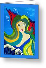 Japanese Mermaid Bubbles  Greeting Card