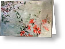 Oriental Orange Flowers Greeting Card