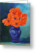 Oriental Poppies In Blue Greeting Card