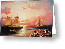 Oriental Sailor Chiefs Gathered For A Meeting On The Shores Of The Black Sea Greeting Card