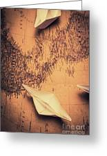 Origami Boats On World Map Greeting Card