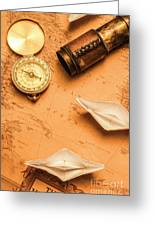 Origami Paper Boats On A Voyage Of Exploration Greeting Card