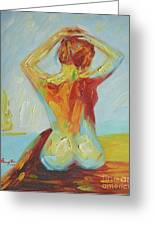 Original Abstract Oil Painting Female Nude Girl On Canvas#16-2-5-06 Greeting Card
