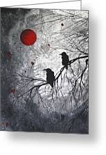 Original Abstract Surreal Raven Red Blood Moon Painting The Overseers By Madart Greeting Card