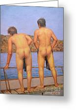 Original Oil Painting Art Male Nude Gay Interest Boy Man On Linen#16-2-5-12 Greeting Card