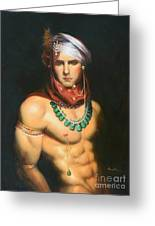 Original Classic Oil Painting Man Body Art-male Nude -068 Greeting Card