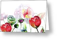 Original Floral Background With Flowers Greeting Card