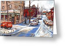 Original Montreal Paintings For Sale Tableaux De Montreal A Vendre Pointe St Charles Scenes Greeting Card
