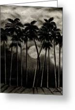 Original Moonlit Palm Trees  Greeting Card
