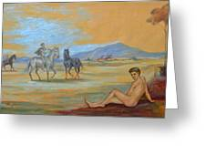 Original Oil Painting Art Male Nude With Horses On Canvas #16-2-5 Greeting Card