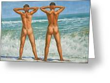 Original Oil Painting Male Nude Gay Interest Art By Seasid On Canvas #16-2-5-0-10 Greeting Card
