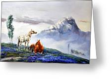 Original Oil Painting On Canvas Two Horses Greeting Card