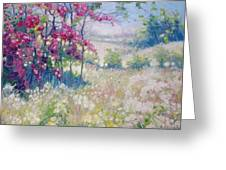 Original Oil Painting - Spring Meadow In Sussex Greeting Card
