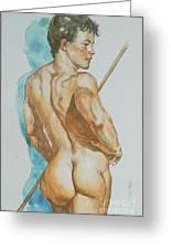 Original Watercolor Painting Art Male Nude Men On Paper #12-25-02 Greeting Card