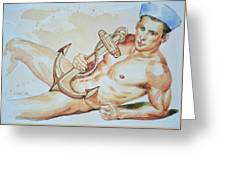 Original Watercolor Painting Artwork Sailor Male Nude Man Gay Interest On Paper #9-015 Greeting Card