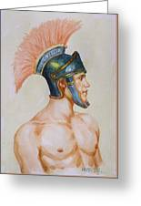 Original Watercolour Painting Art Male Nude Portrait Of General  On Paper #16-3-4-19 Greeting Card