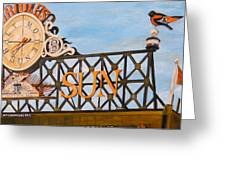 Orioles Scoreboard At Sunset Greeting Card by John Schuller