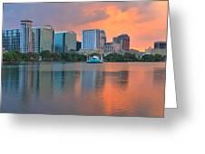 Orlando Cityscape Sunset Greeting Card
