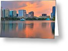 Orlando Skyscrapers And Palm Trees Greeting Card
