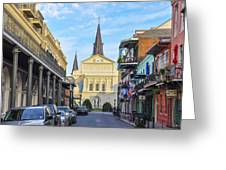 Orleans Street And St Louis Cathedral Greeting Card