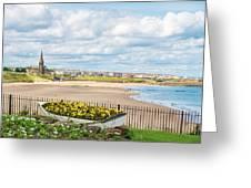 Ornamental Boat Against Tynemouth Coastline Greeting Card