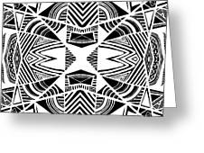 Ornamental Intersection - Abstract Black And White Graphic Drawing Greeting Card
