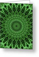 Ornamented Mandala In Green Tones Greeting Card