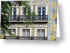 Ornate Building Facade In Lisbon Portugal Greeting Card