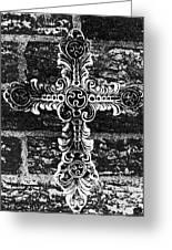 Ornate Cross 3 Bw Greeting Card