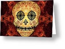 Ornate Floral Sugar Skull Greeting Card