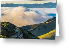 Morning Low Clouds And Hills Greeting Card