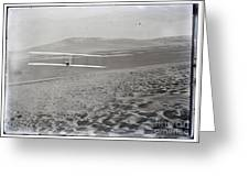 Orville Making Right Turn Showing Warping Of Wings Hill Visible In Front Of Him Kitty Hawk North Car Greeting Card