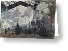 Oscar Monet   The Gare St Lazare Greeting Card