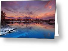 Oulu Moonrise Panorama Greeting Card