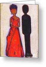 Our First Lady In Red Her Husband Is Black Greeting Card by Ricky Sencion