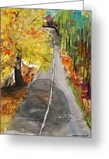 Our Road With Yellow Maple Greeting Card