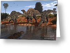 Ouranosaurus Drink At A Watering Hole Greeting Card