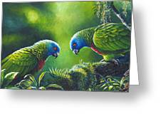 Out On A Limb - St. Lucia Parrots Greeting Card